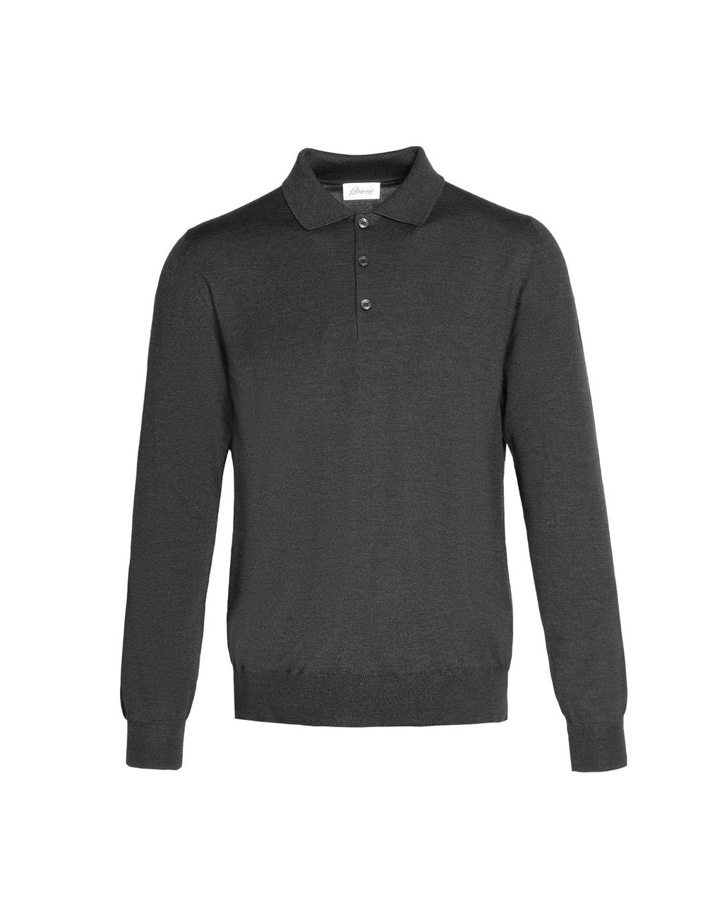 BRIONI Anthracite Gray Long Sleeved Polo Shirt T-Shirts & Polos Man f