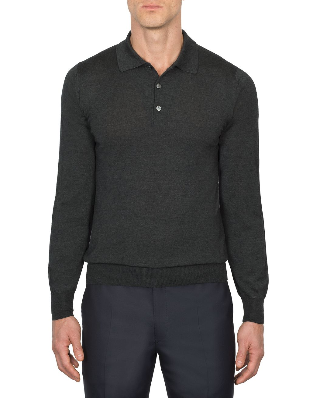 BRIONI Anthracite Gray Long Sleeved Polo Shirt T-Shirts & Polos [*** pickupInStoreShippingNotGuaranteed_info ***] r