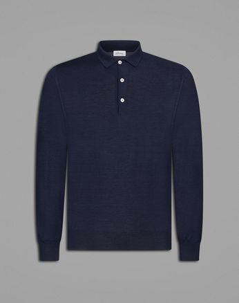 'Essential' Navy Blue Long Sleeved Polo Shirt