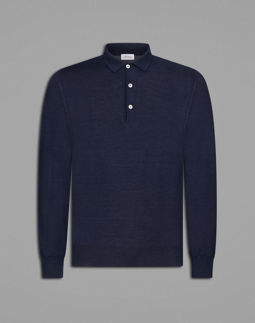 Navy Blue Long Sleeved Polo Shirt