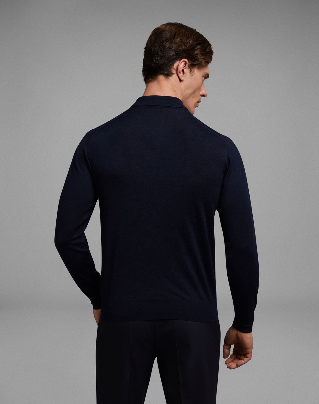 BRIONI 'Essential' Navy Blue Long Sleeved Polo Shirt Knitwear Man d