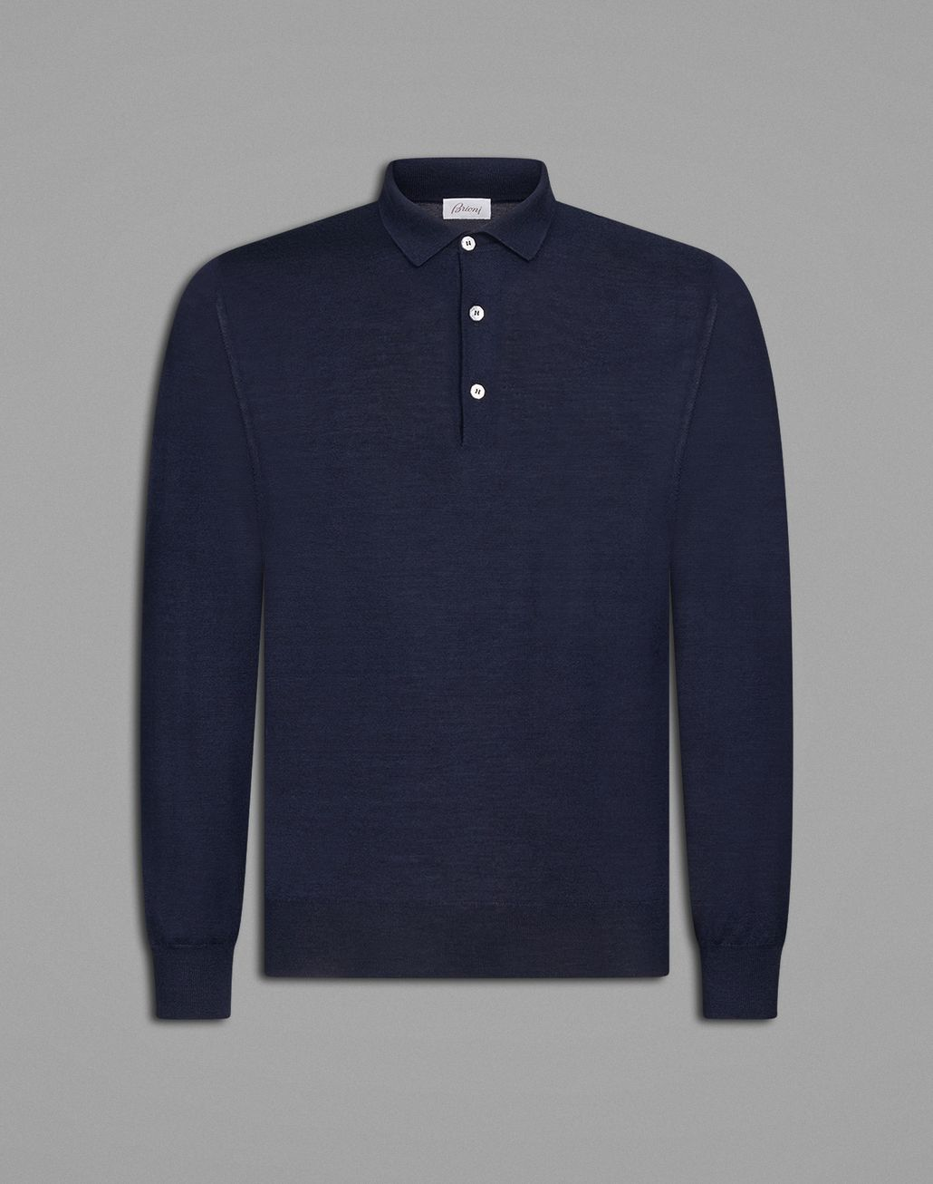BRIONI 'Essential' Navy Blue Long Sleeved Polo Shirt Knitwear Man f