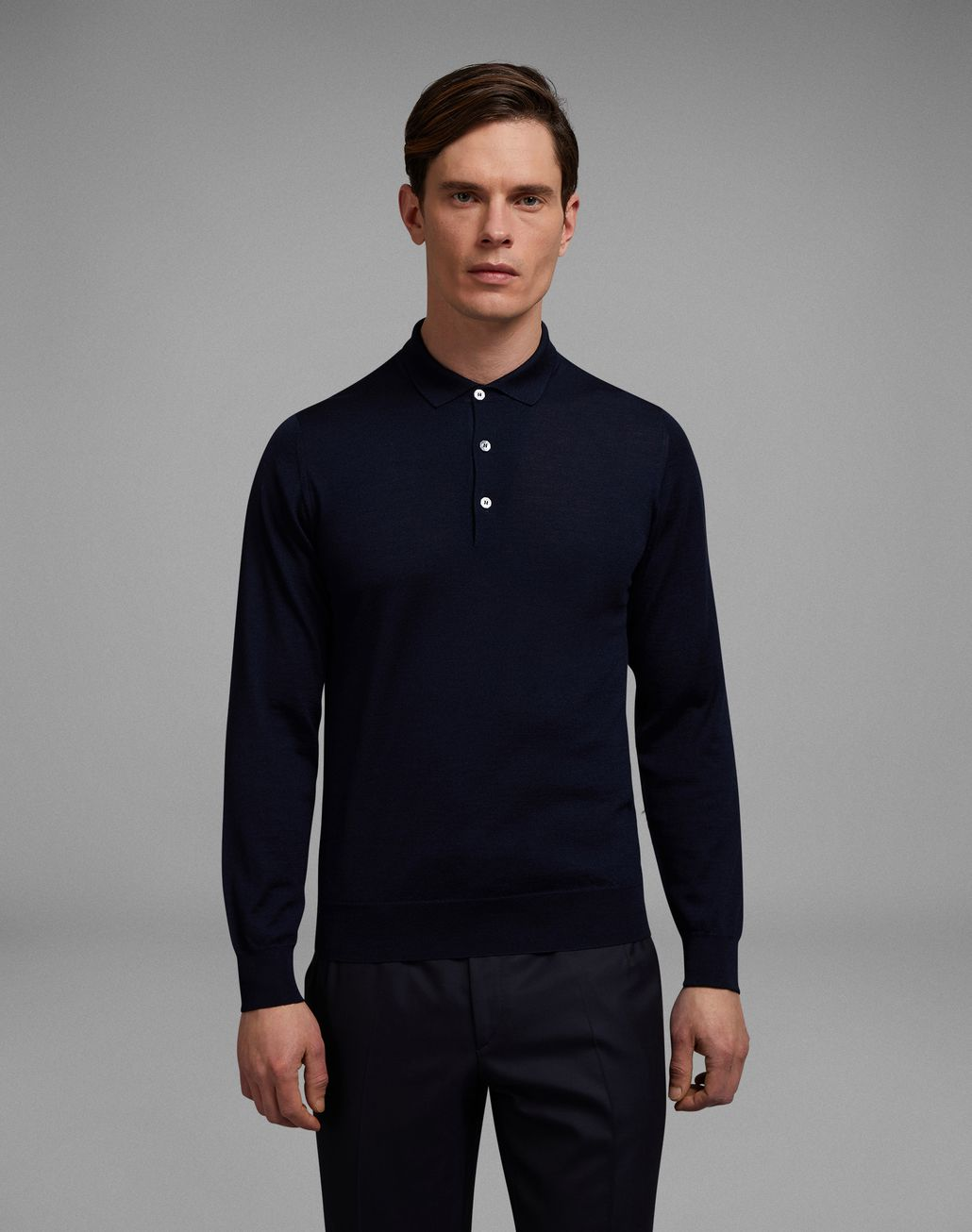 BRIONI 'Essential' Navy Blue Long Sleeved Polo Shirt Knitwear Man r