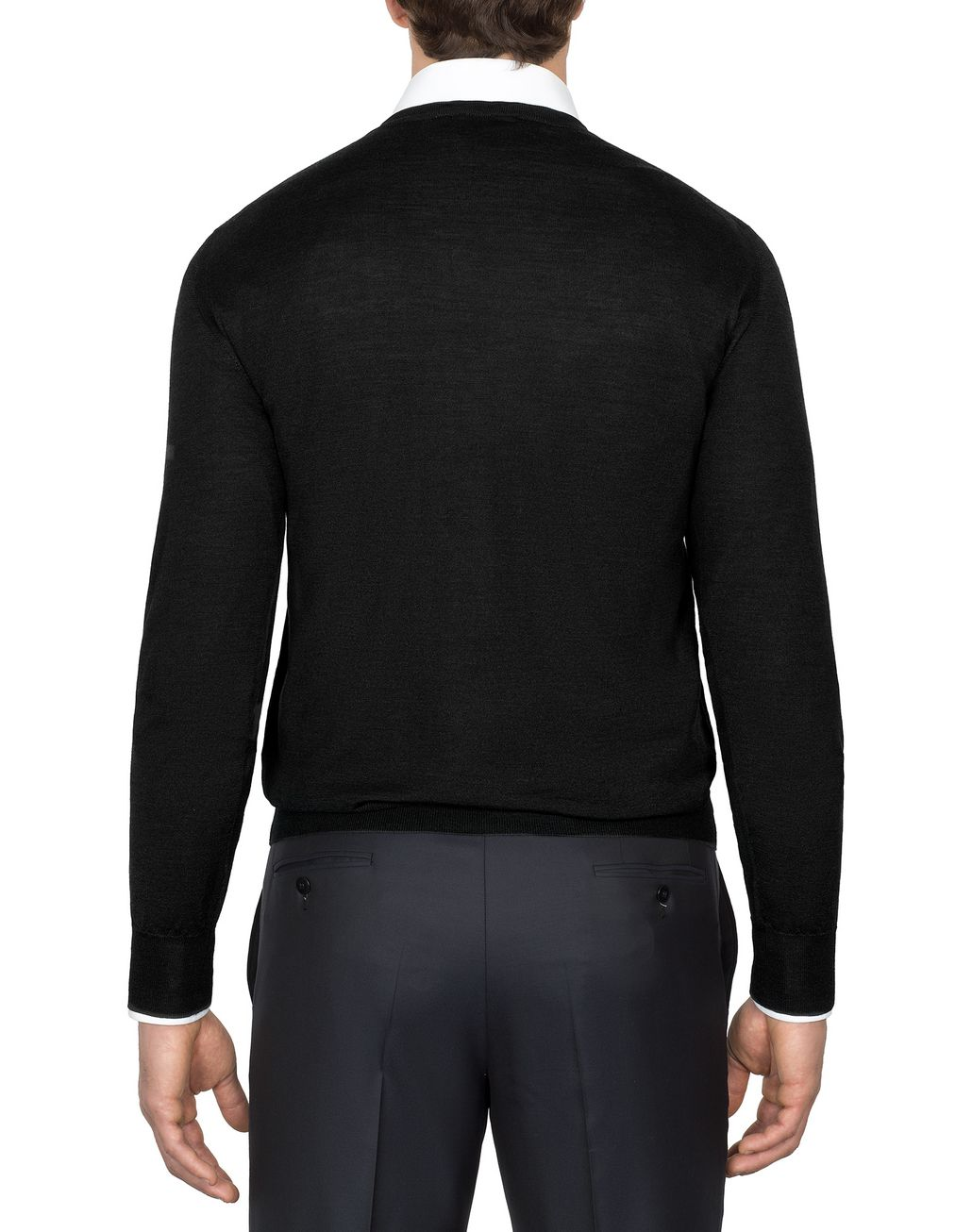 BRIONI Black V-Neck Sweater Knitwear Man d