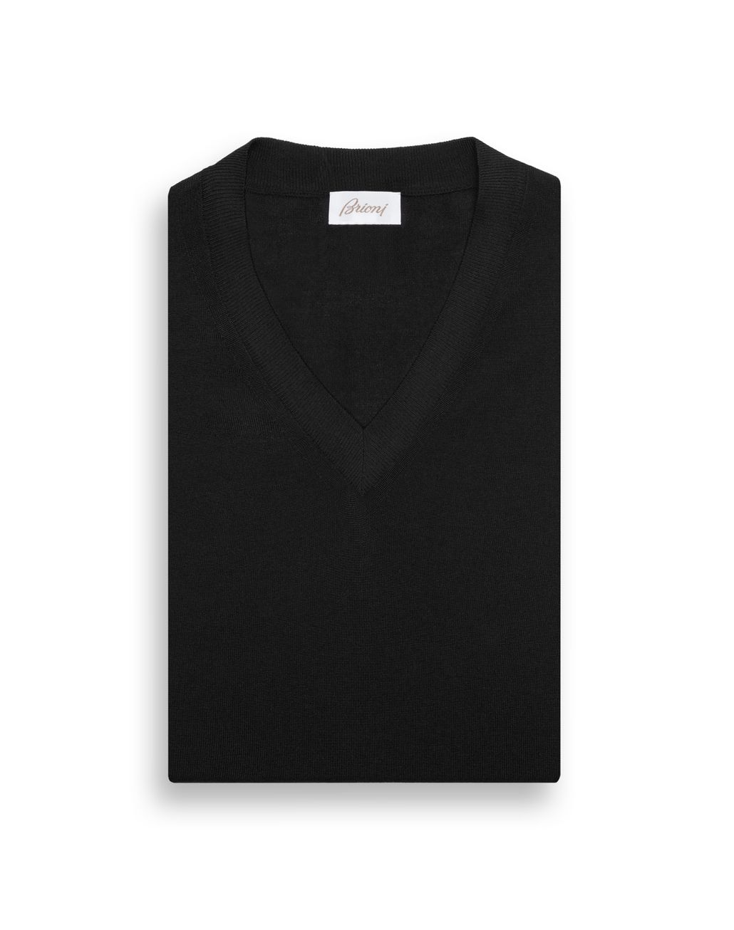 BRIONI Black V-Neck Sweater Knitwear Man e