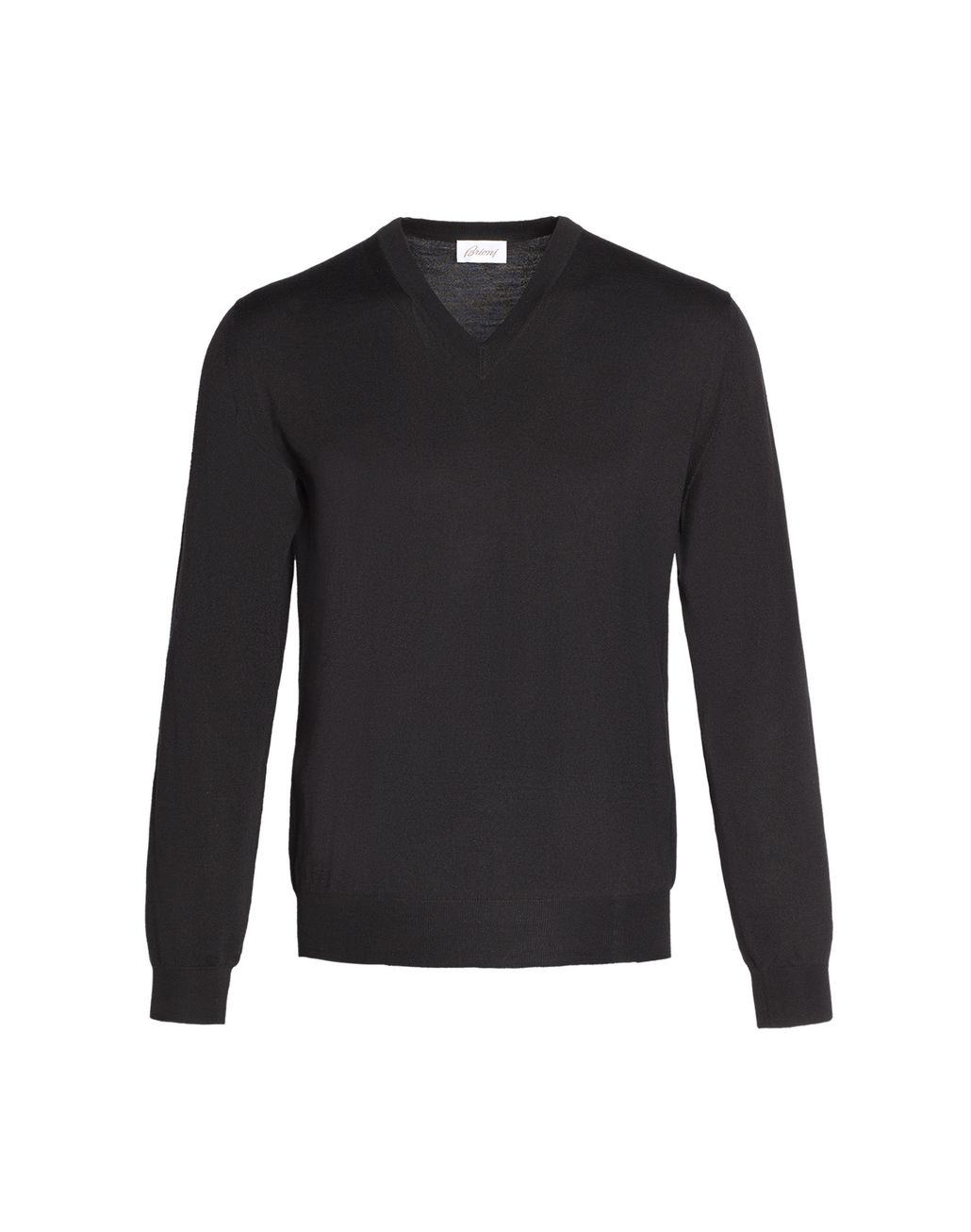 BRIONI  'Essential' Black V-Neck Sweater Knitwear Man f