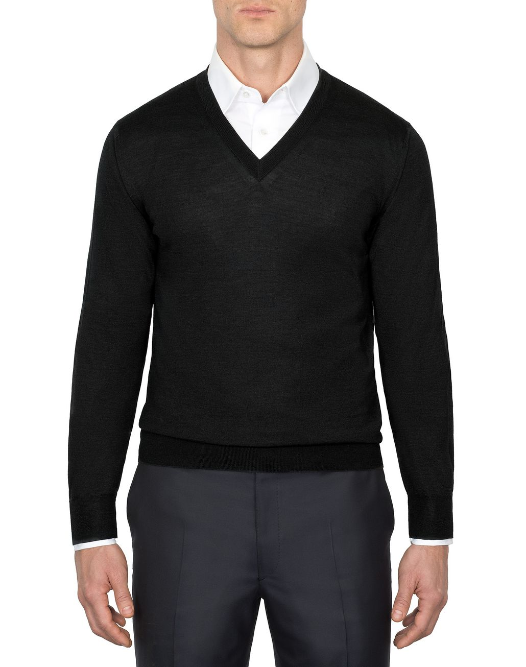 BRIONI 'Essential' Black V-Neck Sweater Knitwear Man r