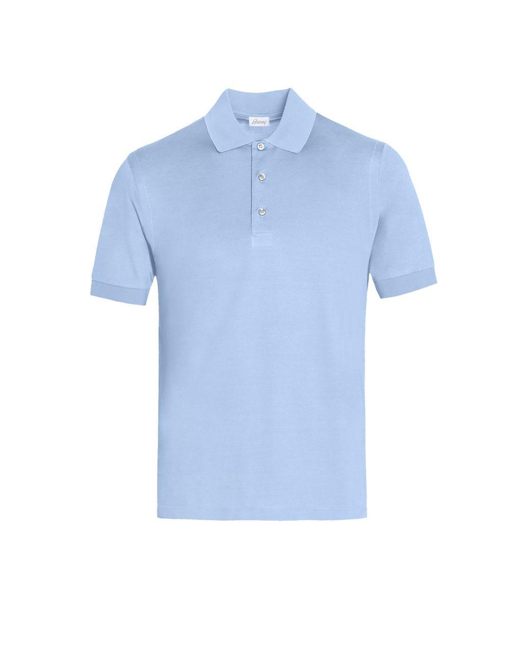 BRIONI Baby Blue Silk Polo Shirt T-Shirts & Polos U f