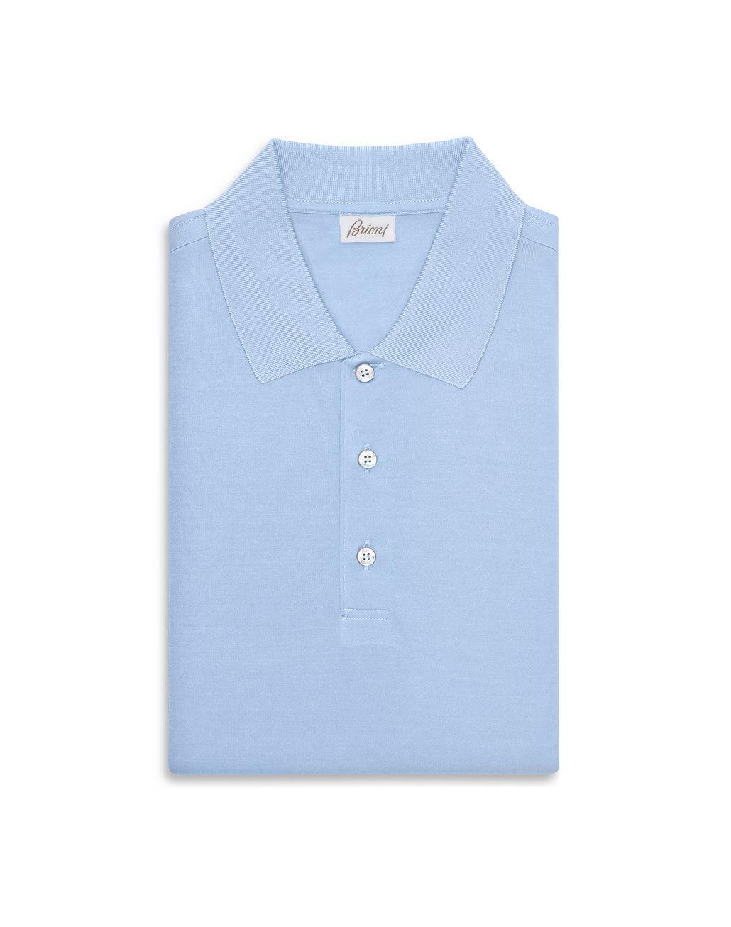 BRIONI Baby Blue Silk Polo Shirt T-Shirts & Polos Man r