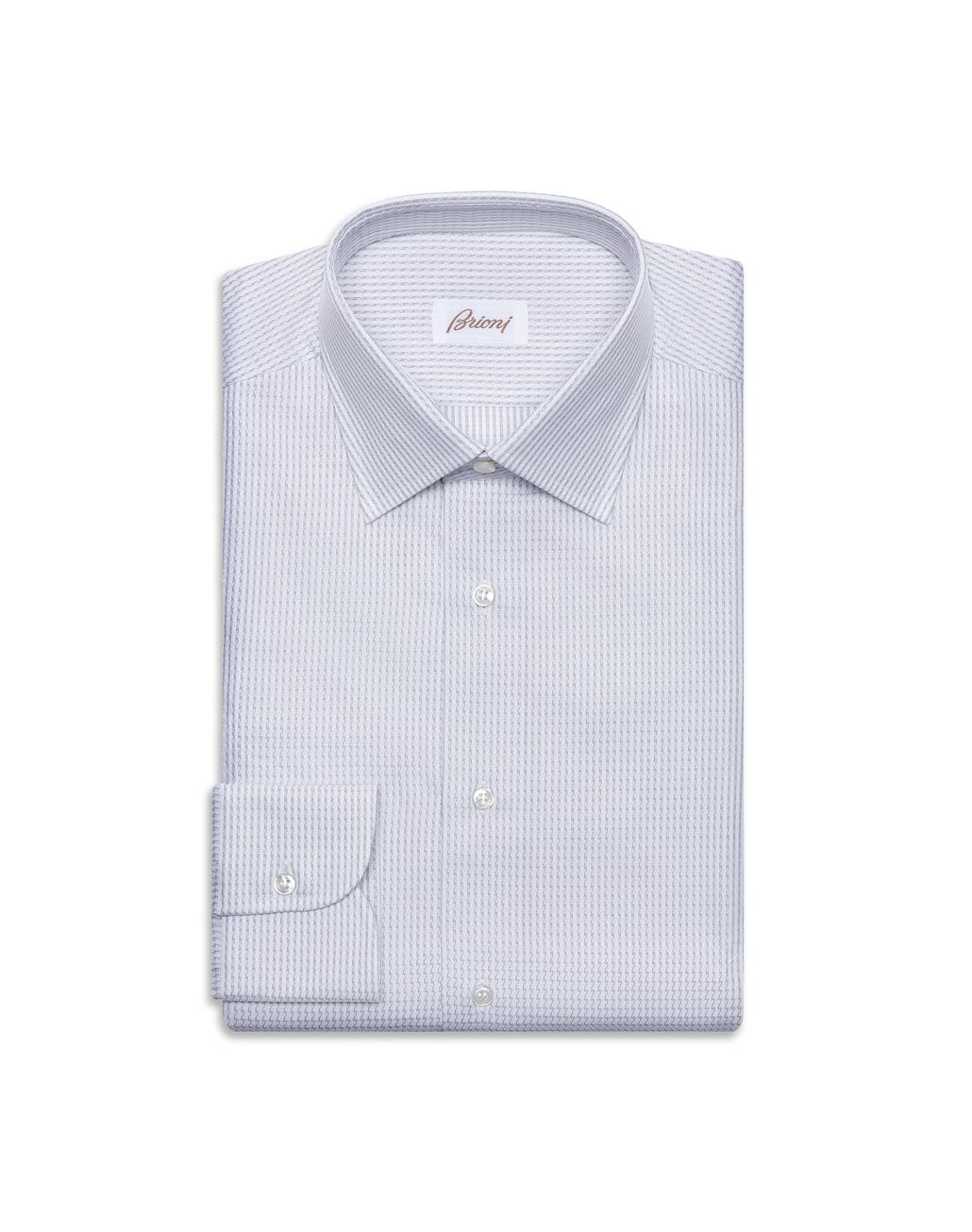 BRIONI White and Lead Striped Formal shirt Man f