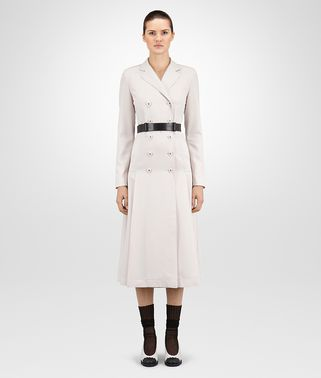 COAT IN MIST GABARDINE WOOL NERO CALF, LEATHER DETAILS