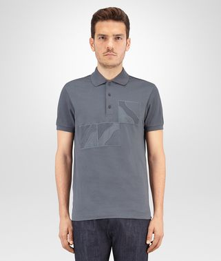 POLO IN DARK ARDOISE COTTON AND PIQUET JERSEY, EMBROIDERED PATCHWORK DETAILS