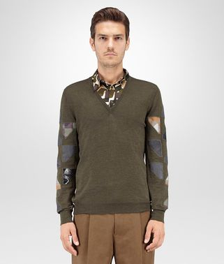 SWEATER IN DARK SERGEANT MERINOS WOOL, EMBROIDERED PATCHWORK DETAILS