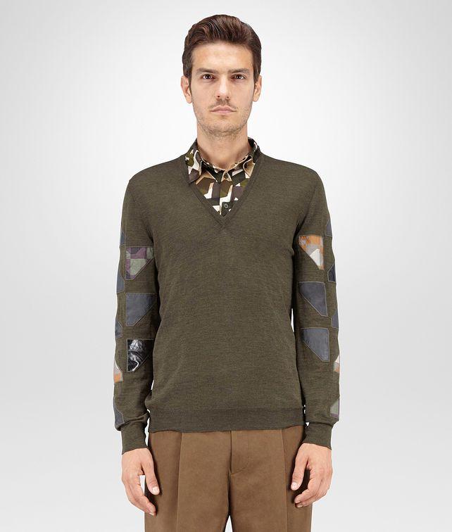 BOTTEGA VENETA SWEATER IN DARK SERGEANT MERINOS WOOL, EMBROIDERED PATCHWORK DETAILS Knitwear U fp