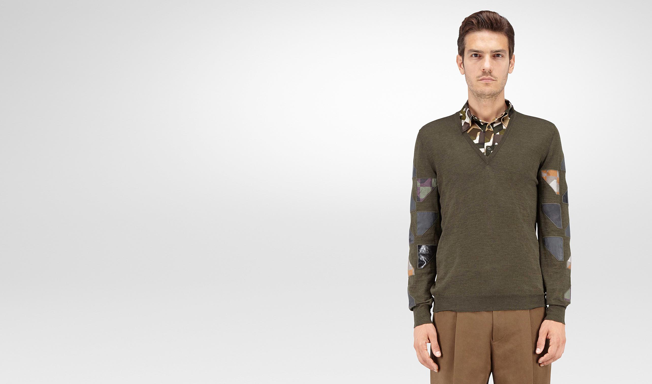 BOTTEGA VENETA Knitwear U SWEATER IN DARK SERGEANT MERINOS WOOL, EMBROIDERED PATCHWORK DETAILS pl