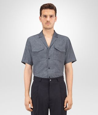 SHIRT IN NAVY COTTON LINEN CHAMBRAY