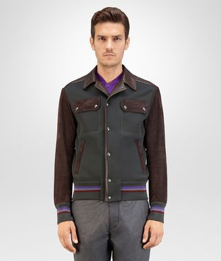 BLOUSON IN DARK SERGEANT COTTON NYLON, ESPRESSO SUEDE AND INTRECCIATO DETAILS