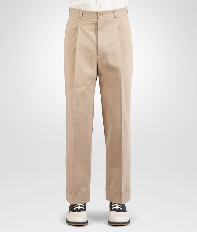 BOTTEGA VENETA PANTALONE IN COTONE LIGHT WALNUT Pantaloni e Jeans Uomo fp