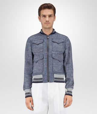BLOUSON IN NAVY SILK LINEN
