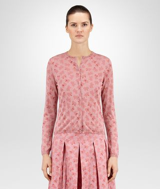 CARDIGAN IN LIGHT DUSTY ROSE PRINTED CASHMERE SILK