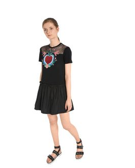 66d734c9a2 ... REDValentino Special Edition T-shirt dress with heart print and  embroidered flowers