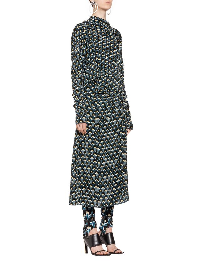 Marni Short Sleeve Dress Woman In Silk With Portrait Print A