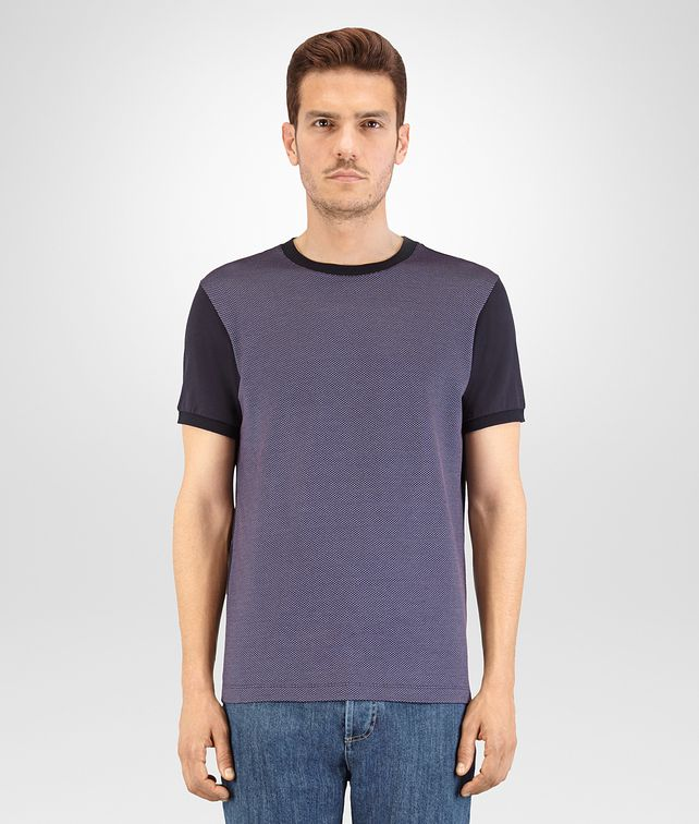 BOTTEGA VENETA T SHIRT IN DARK NAVY KRIM COTTON JACQUARD AND JERSEY Polo And Tee Man fp