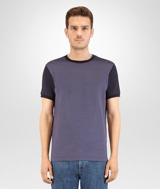T-SHIRT IN DARK NAVY KRIM COTTON JACQUARD AND COTTON JERSEY