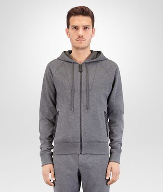 SWEATER IN NEW LIGHT GREY COTTON WOOL JERSEY, INTRECCIATO LEATHER DETAIL