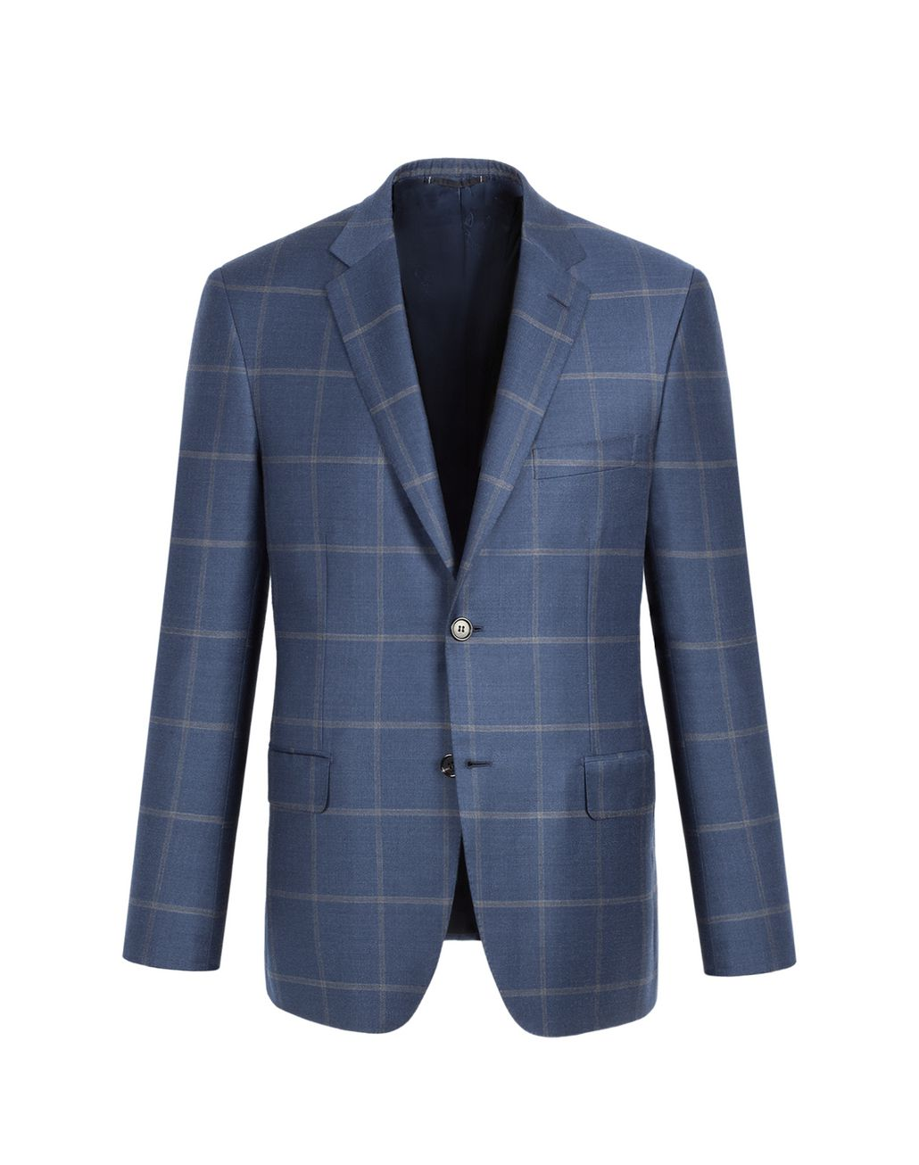 BRIONI Blue and Grey Overcheck Ravello Jacket Jackets Man f