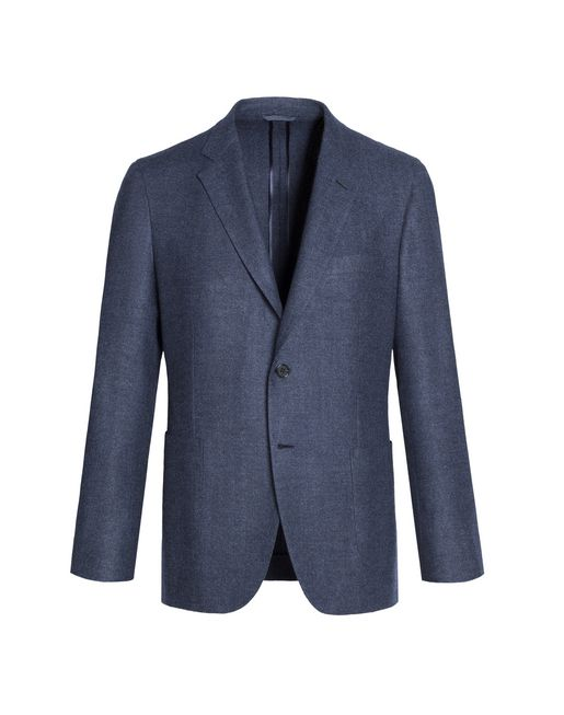 Denim Blue Herringbone Plume Jacket