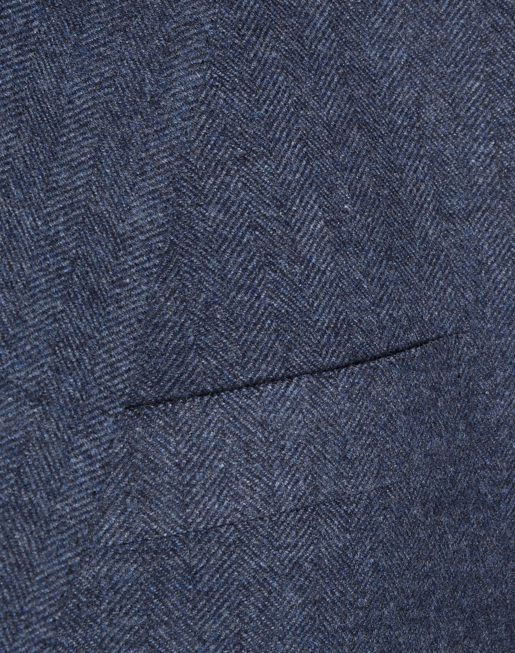 BRIONI Denim Blue Herringbone Plume Jacket Jackets U d