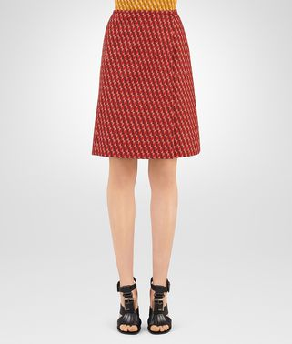DARK TERRACOTTA WOOL JACQUARD SKIRT