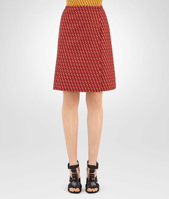 BOTTEGA VENETA DARK TERRACOTTA WOOL JACQUARD SKIRT Skirt or trouser D fp