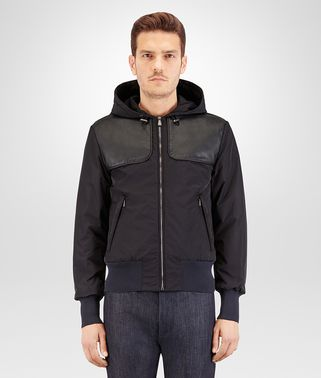 BLOUSON IN DARK NAVY NYLON AND NERO NAPPA, INTRECCIATO LEATHER DETAIL