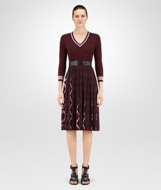 DRESS IN MULTICOLOR INTARSIA WOOL, LEATHER DETAIL