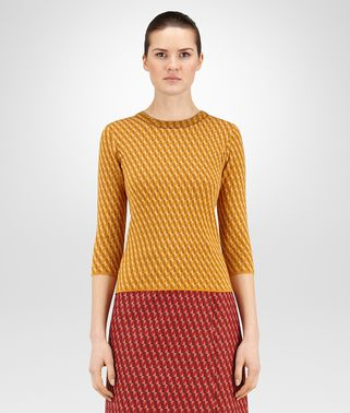 SWEATER IN OCRE LEATHER CASHMERE WOOL JACQUARD