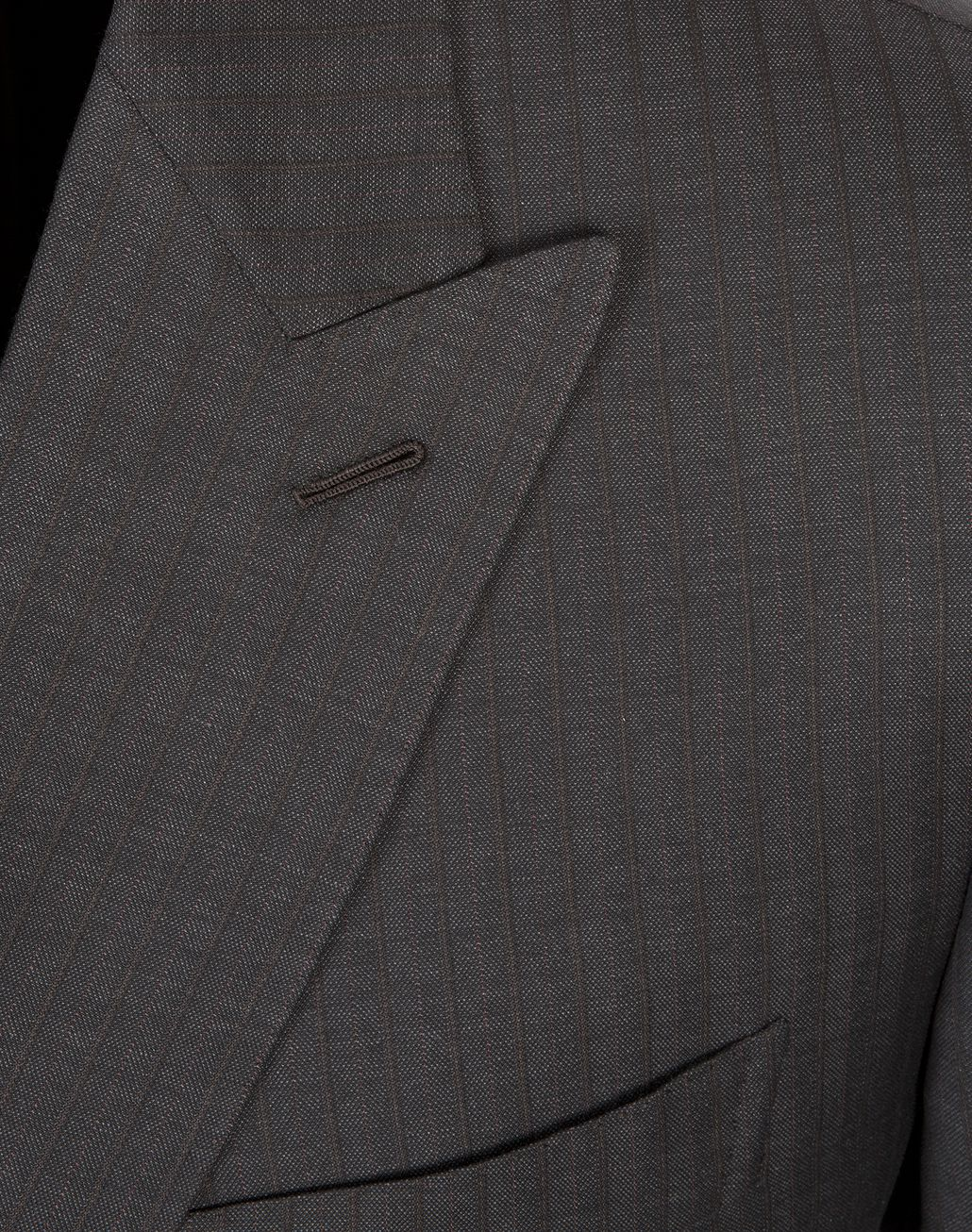 BRIONI Grey and Dark Brown Striped Madison Double Breasted Suit Suits & Jackets U a