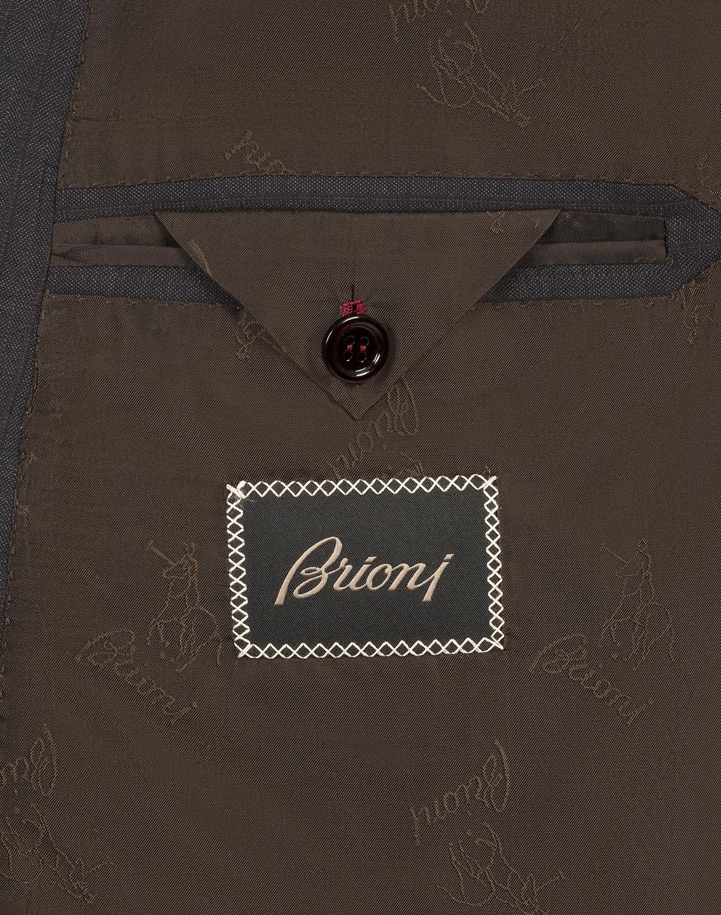 BRIONI Grey and Dark Brown Striped Madison Double Breasted Suit Suits & Jackets Man b