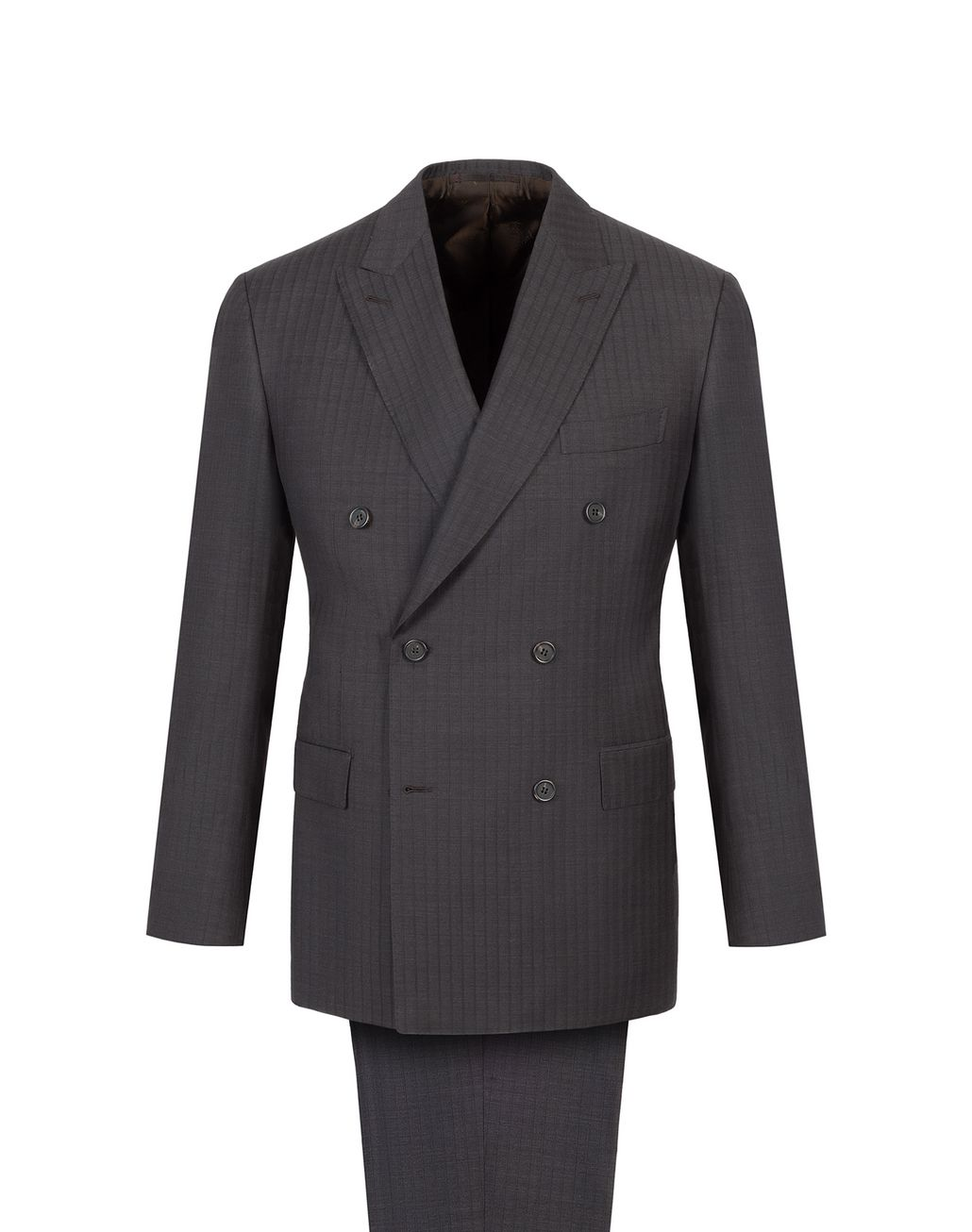 BRIONI Grey and Dark Brown Striped Madison Double Breasted Suit Suits & Jackets Man f