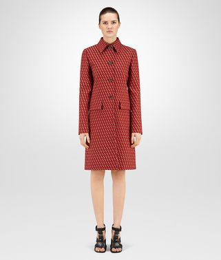 DARK TERRACOTTA WOOL JACQUARD COAT