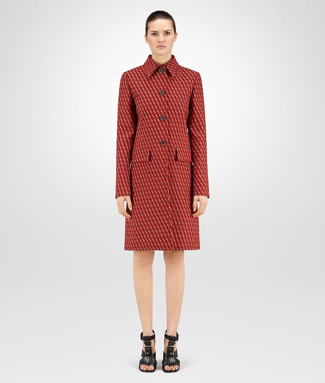 BOTTEGA VENETA DARK TERRACOTTA WOOL JACQUARD COAT Outerwear and Jacket Woman fp