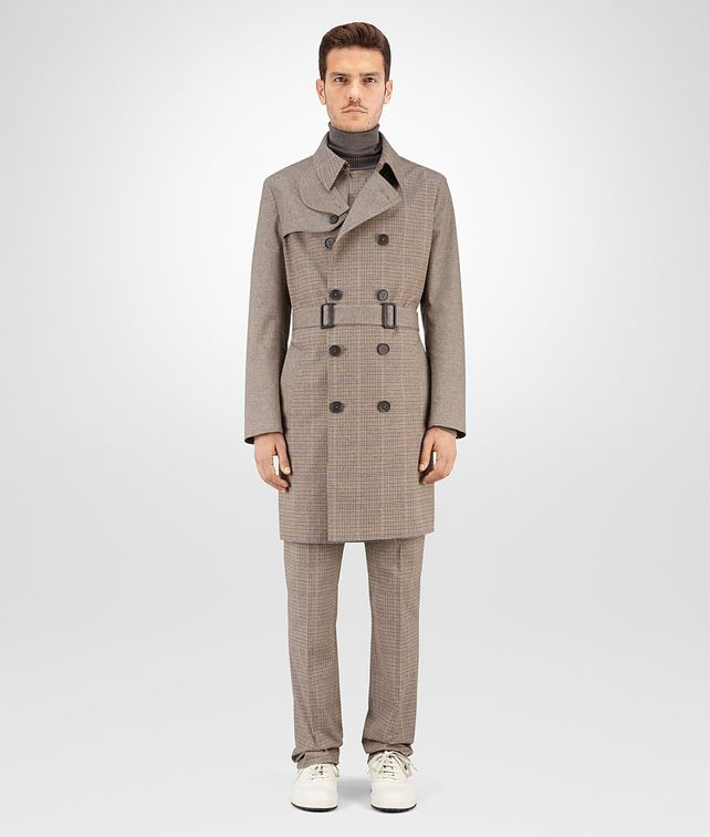 BOTTEGA VENETA TRENCH IN MULTICOLOR MICRO CHECK WATERPROOF COTTON Outerwear and Jacket Man fp