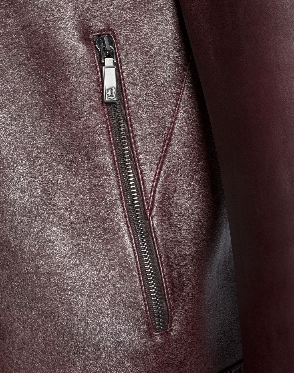 BRIONI Burgundy Leather Biker Jacket Outerwear Man d