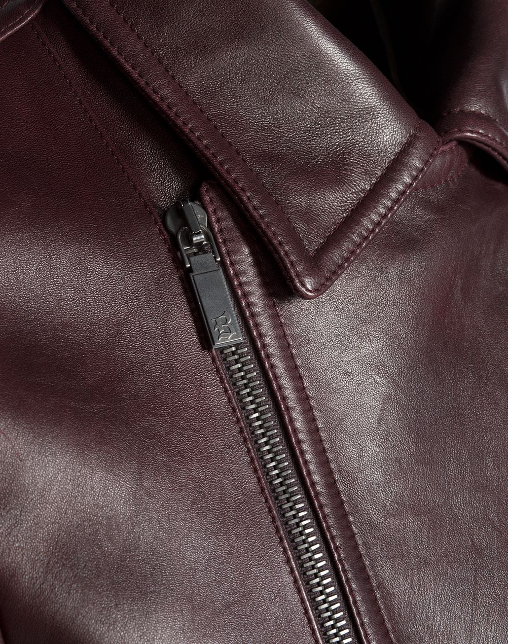 BRIONI Burgundy Leather Biker Jacket Outerwear U e