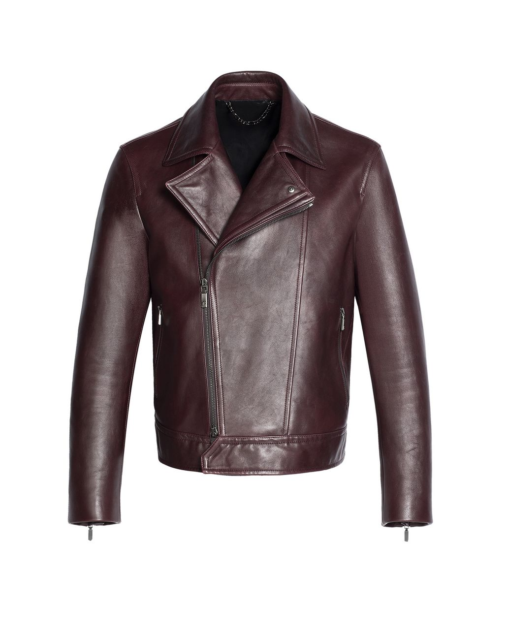 BRIONI Burgundy Leather Biker Jacket Outerwear U f