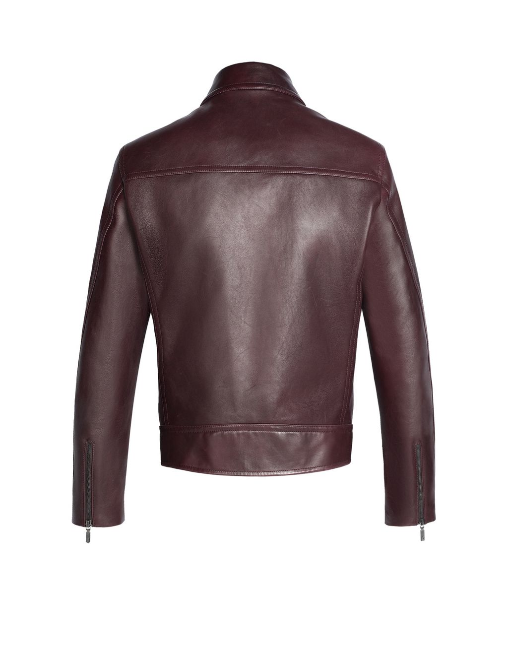 BRIONI Burgundy Leather Biker Jacket Outerwear U r