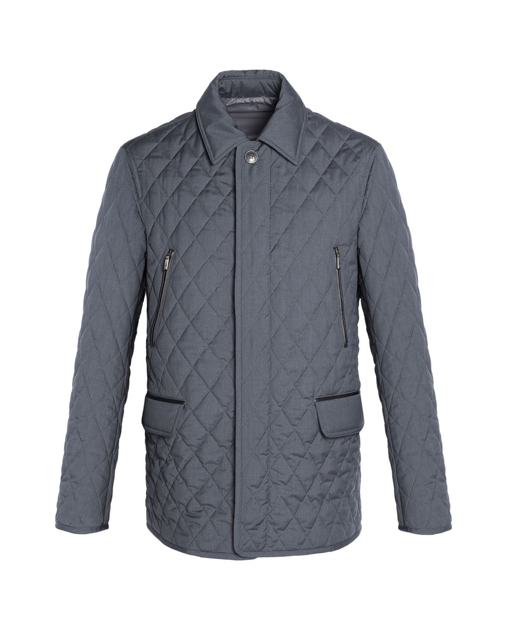 BRIONI Grey Melange Quilted Field Jacket Coats & Raincoats Man f