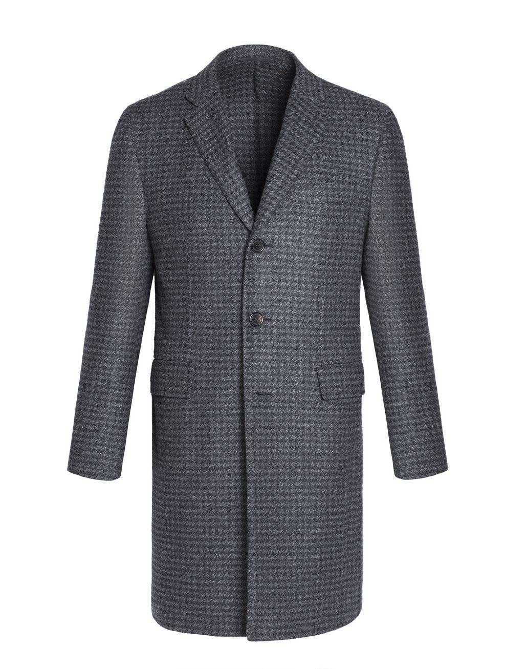 """BRIONI Серое кашемировое пальто с мотивом """"пье-де-пуль"""" Верхняя одежда Для Мужчин f"""