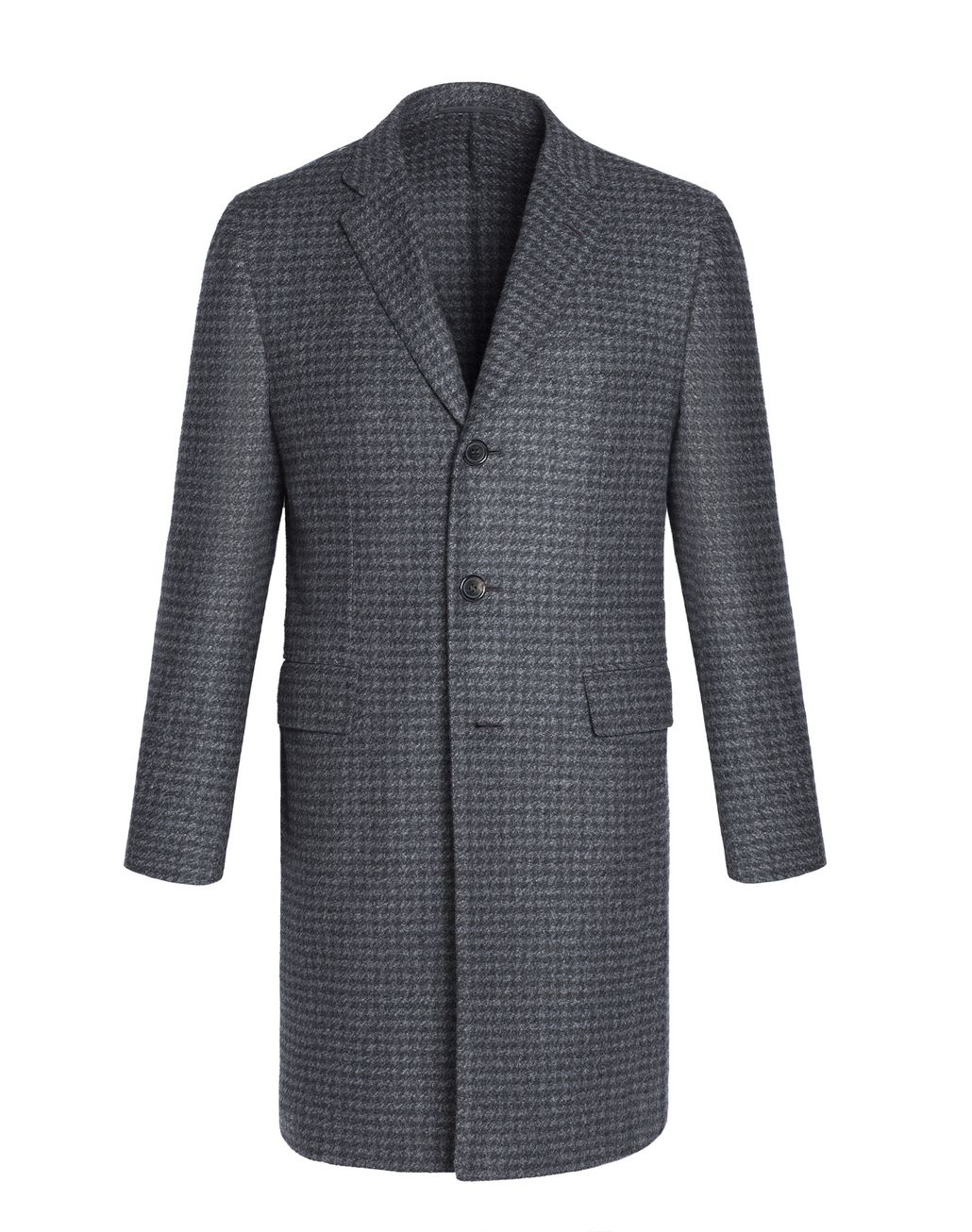 BRIONI Grey Macro Pied de Poule Plume Coat in Cashmere Outerwear U f